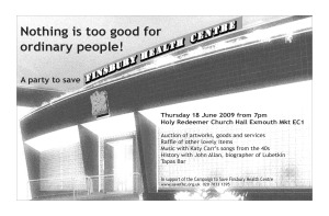 Poster for 'Nothing is too good for ordinary people!' benefit Thursday June 18th, 7pm, Holy Redeemer Church Hall Exmouth Market EC1