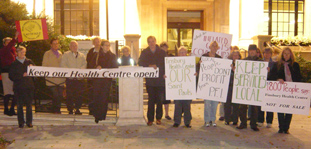 SaveFHC supporters outside Islington Town Hall 19 Oct, 47 people attended the meeting that evening