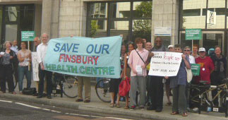 SaveFHC supporters in front of Islington PCT headquarters